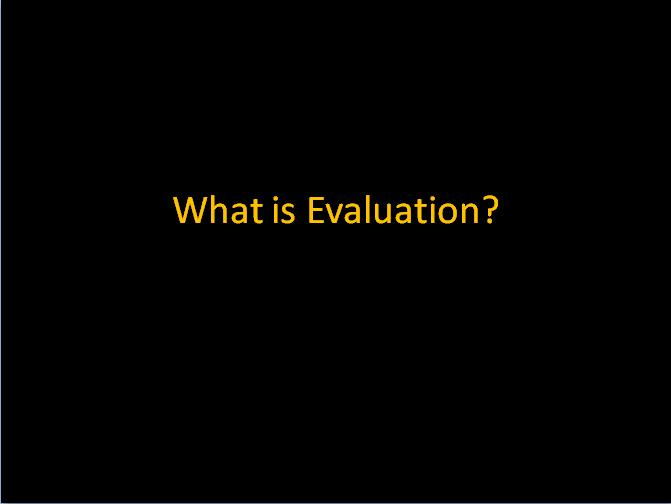 What is Evaluation presentation front slide